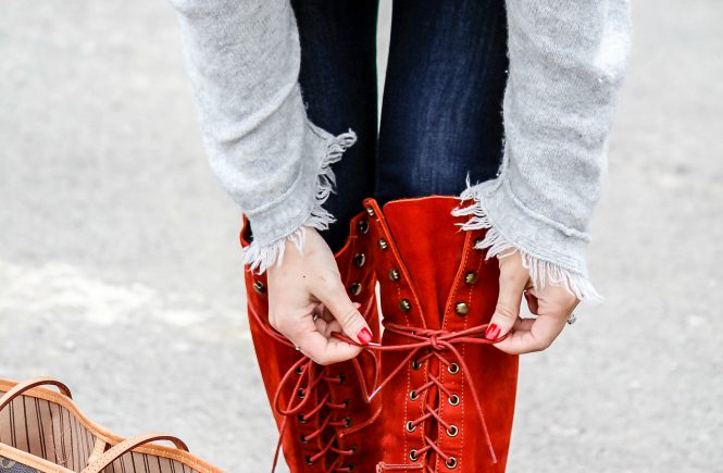 LNL love 'n' labels: red Free People lace up boots