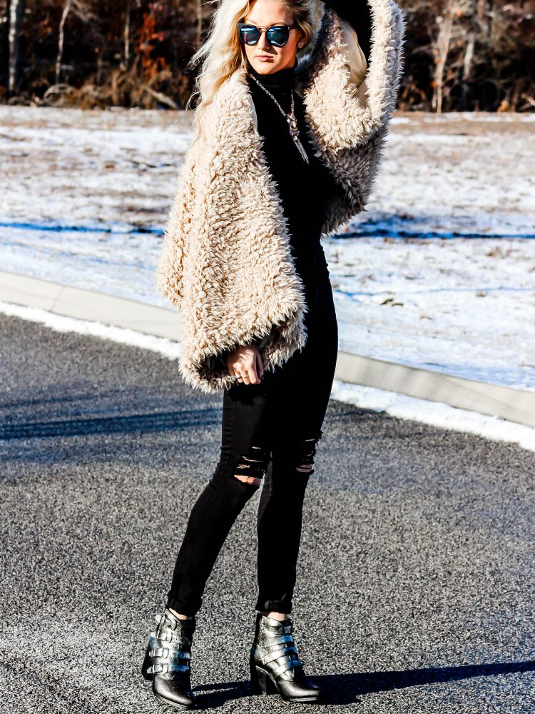 black on black outfit fur coat