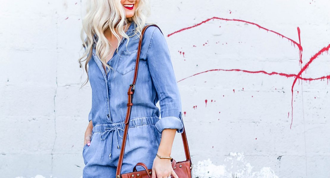 Lightweight Denim Romper and Messy Bun Tutorial | love 'n' labels www.lovenlabels.com