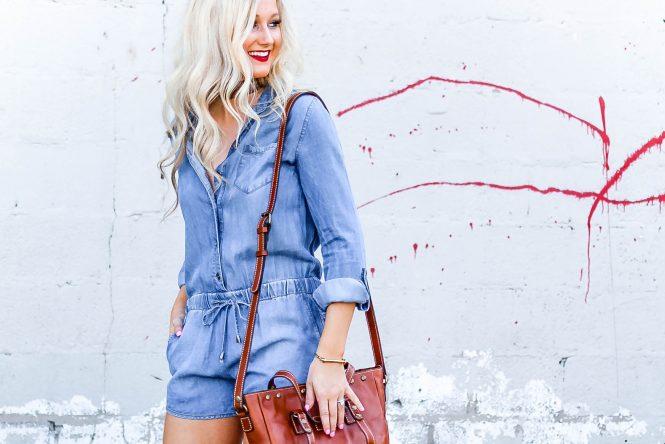 Lightweight Denim Romper and Messy Bun Tutorial | love 'n' labels www.lovenlabels.com